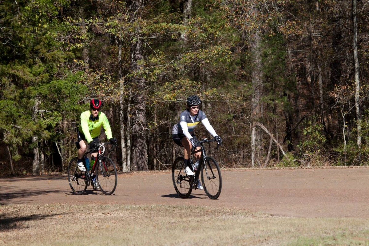 Action photo shot of cyclists at the Koz and Back 112 Mile Bike Ride